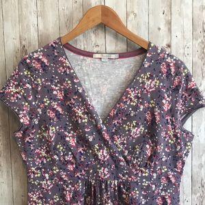 Boden purple short sleeve floral cotton dress